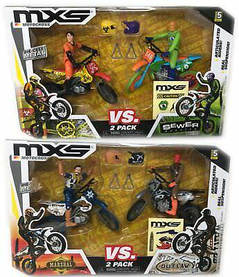 4-Pack Jaxx Pacific MXS Motocross Bio-Worker vs Sewer Monster, Marshal vs Outlaw