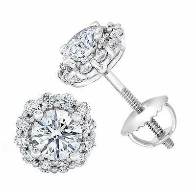 2.00Ct Round Brilliant Cut Screw Back Stud Earrings 14Ct White Gold
