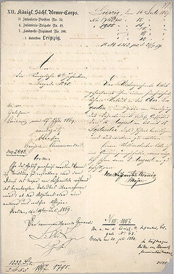 1869 Duke Alfred Saxon Army British Royalty Autograph Military Leipzig Document