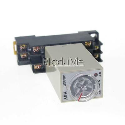 DC 12V 8 Pins DPDT H3Y-2 0-60 Seconds Delay Power On Timer Time Relay w Base MO