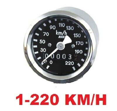 "Micro Mini Speedometer km/h 2240:40 Ratio 1.9"" Black Face by MMB Harley Softail"