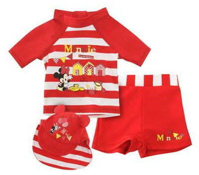Disney Baby Girls Minnie Mouse Red 3 Piece Set Swim Swimming Costume Swimsuit