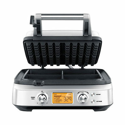 Non Stick Stainless Steel Oven Safe 4 Slice Square Belgian Waffle Maker w/ Timer