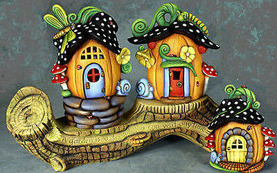 Ceramic Bisque Ready to Paint Pumpkin Cottages with Garden Log