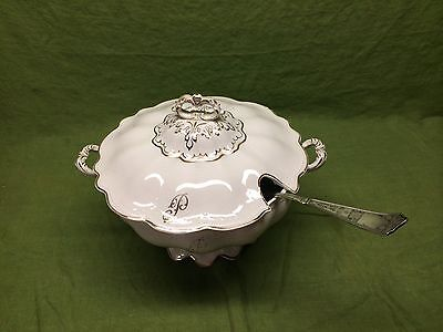 W.S. George IRIS Soup Tureen w/ Lid Silver Spoon Vintage White & Gold Monogram