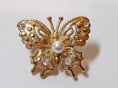 Vintage Costume Jewelry Brooch Scarf Dress Gold Tone Clip Rhinestone Butterfly