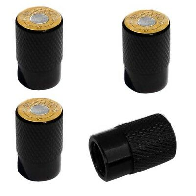 2 Black Billet Knurled Tire Valve Caps For Motorcycle Wheel - 45 AUTO BULLET B