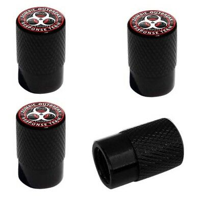 2 Black Billet Knurled Tire Valve Caps For Motorcycle Wheel - ZOMBIE OUTBREAK