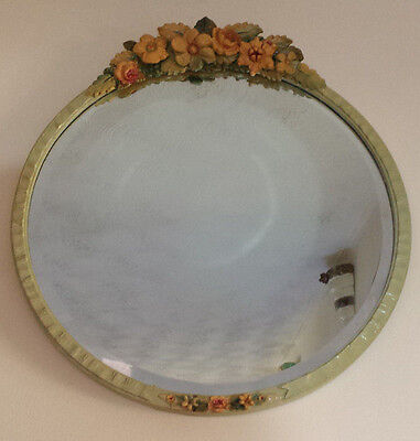 "Fabulous Large Vintage Barbola Flower Decorated Wall Mirror 17.5"" Diameter"