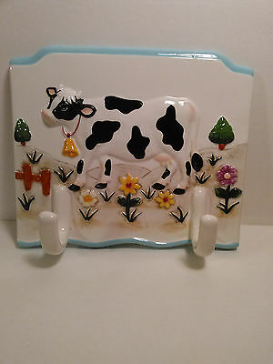 Ceramic wall hanging Cow with hooks decor