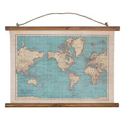 Vintage Wall Map Hanging Canvas Decoration Traveller Adventure by Sass & Belle