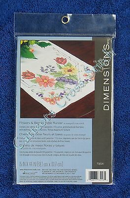 "Stamped Cross Stitch Flowers & Berries Table Runner 15"" x 44"" Easy Dimensions"