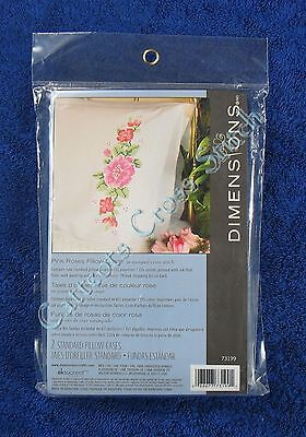 Stamped Cross Stitch Pillowcase Pair Two Pink Rose Roses & Buds Dimensions