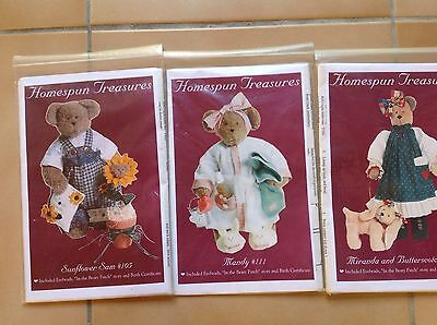 BEAR PATTERNS X 3  by HOME SPUN TREASURES   WITH CLOTHES & ACCESSORIES INC EYES