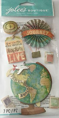 JOLEE'S BOUTIQUE LE GRANDE MAP MEDALLIONS Travel Scrapbook Sticker Embellishment