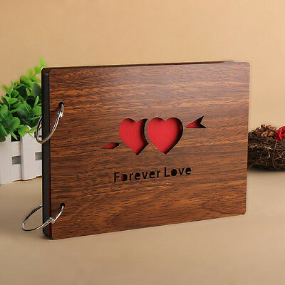"""DIY 30Page 8"""" 22 x 16cm Wood Cover 2 Rings Photo Album Scrapbooking FOREVER LOVE"""