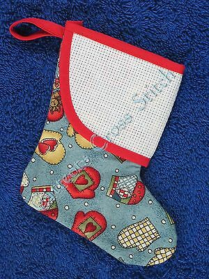Cross Stitch Mini Christmas Stocking Blue Mitten Hearts Patchwork Personalise
