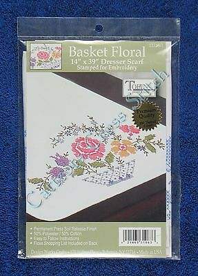 "Stamped Cross Stitch Basket Floral Dresser Scarf Flowers 14"" x 39"" Tobin"