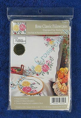 "Stamped Cross Stitch Rose Classic Pillowcases Pair 20"" x 30"" Tobin"