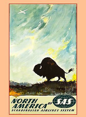 North America Buffalo SAS Airlines United States Travel Advertisement Art Poster