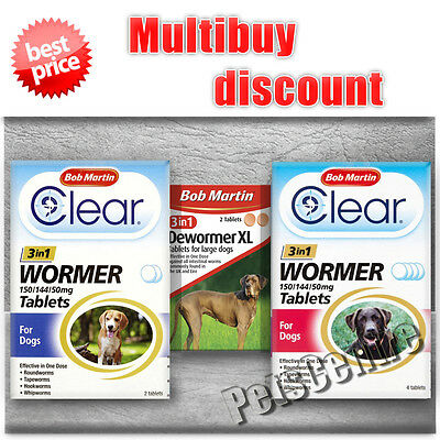 Bob Martin Clear 3 in 1 Wormer Tablets For Dogs  Worming Treatment