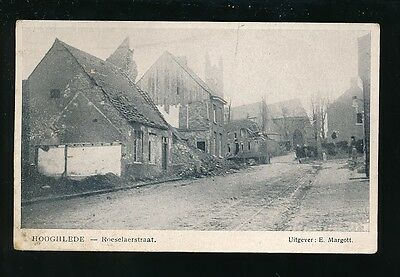 Netherlands Holland HOOGHLEDE Roeselaerstraat WW1 Bomb damage PPC