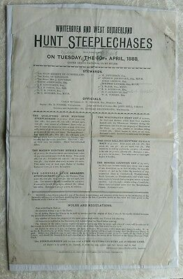 1888 Horse racing hunt steeplechase advertising poster Whitehaven & West Cumbria