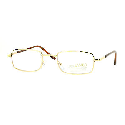 Small Thin Metal Rectangle Clear Lens Eyeglasses Unisex Spring Hinge Glasses
