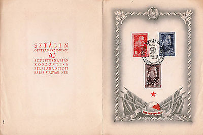 Hungary 1949. Stalin Special Card With Complete Imperf Set Michel Min.: 17 Eur