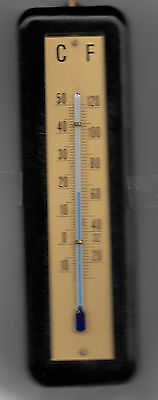 Antique Vintage Black Thermometer, Massive Beech, 18.5 cm C + F Made in Germany