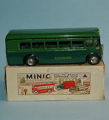 LINES BROS England 1950 TRIANG MINIC boxed SINGLE DECKER BUS GREEN LINE