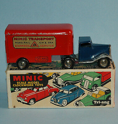 1950 TRIANG MINIC TRANSPORT 30M MECHANICAL HORSE & PANTECHNICON Tractor Trailer