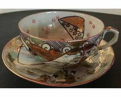 Antique Delicate Japanese Kutani Handpainted Cup and Saucer