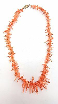 "Pink Coral Branch Necklace - Vintage Estate Natural Beaded Jewelry 18"" 18g"