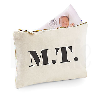 Personalised Baby Nappy Pouch/ Mini Changing Bag- 'Iniitials'- GIFT FOR NEW BABY