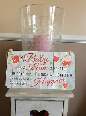 A BABY MAKES HOME HAPPIER new baby shower gift NURSERY SIGN roses Ditsy pretty