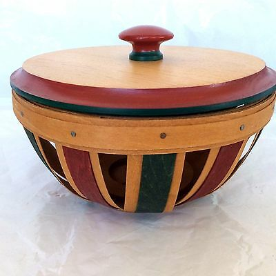 HOLIDAY Red Green Potpourri Basket and LID   Longaberger