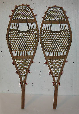 Antique Indian Snowshoes with Pompom 29'' x 9''   FREE SHIPPING