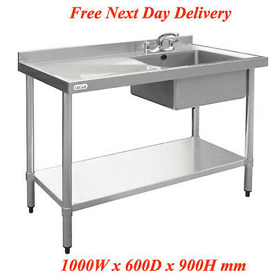 Vogue U902 Stainless Steel Sink Right Hand Bowl 1000x600mm Restaurant Pub Cafe