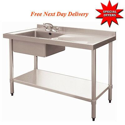 Commercial Catering Kitchen Stainless Steel Single Bowl Sink 1000Mm