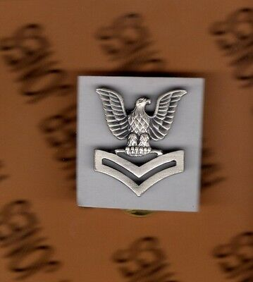 USN NAVY PO-2 Petty Officer 2nd Class E-5 brushed rate badge rank 1 inch single