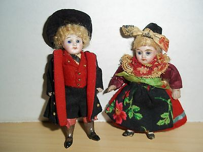 Antique Miniature Bisque Jointed Dolls - Boy & Girl German or Swiss  Late 1800's