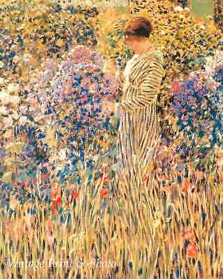 Among the Hollyhocks by Frederick C Frieseke Woman Garden  8x10 Print 1309