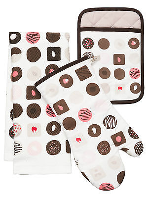 New Genuine KATE SPADE Kitchen Oven Mitt & Towel Set (Chocolate NWT)
