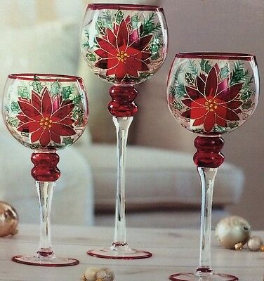 Hand Painted Glass Candle Holder Set Of 3 For Christmas