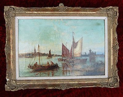 19th Century signed William Raymond Dommersen Dutch Seascape painting on canvas