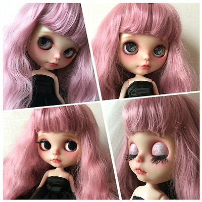 """New 12"""" Takara Nude Matte Face Blythe Doll 19 Joint Body + Wine Red Hair Head"""