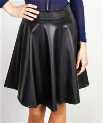 6ee02453f Faux Leather Flare Circle Skirt Black Dressy Club Cocktail Pleats Skater
