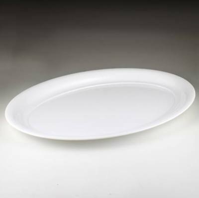 "Plastic Serving Tray, White Oval 16"" x 11"""