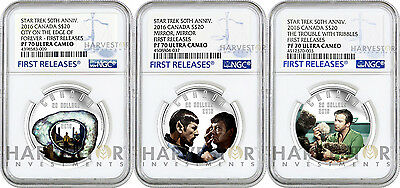2016 Silver Star Trek - Complete 3-Coin Set - All Coins - Ngc Pf70 First Release